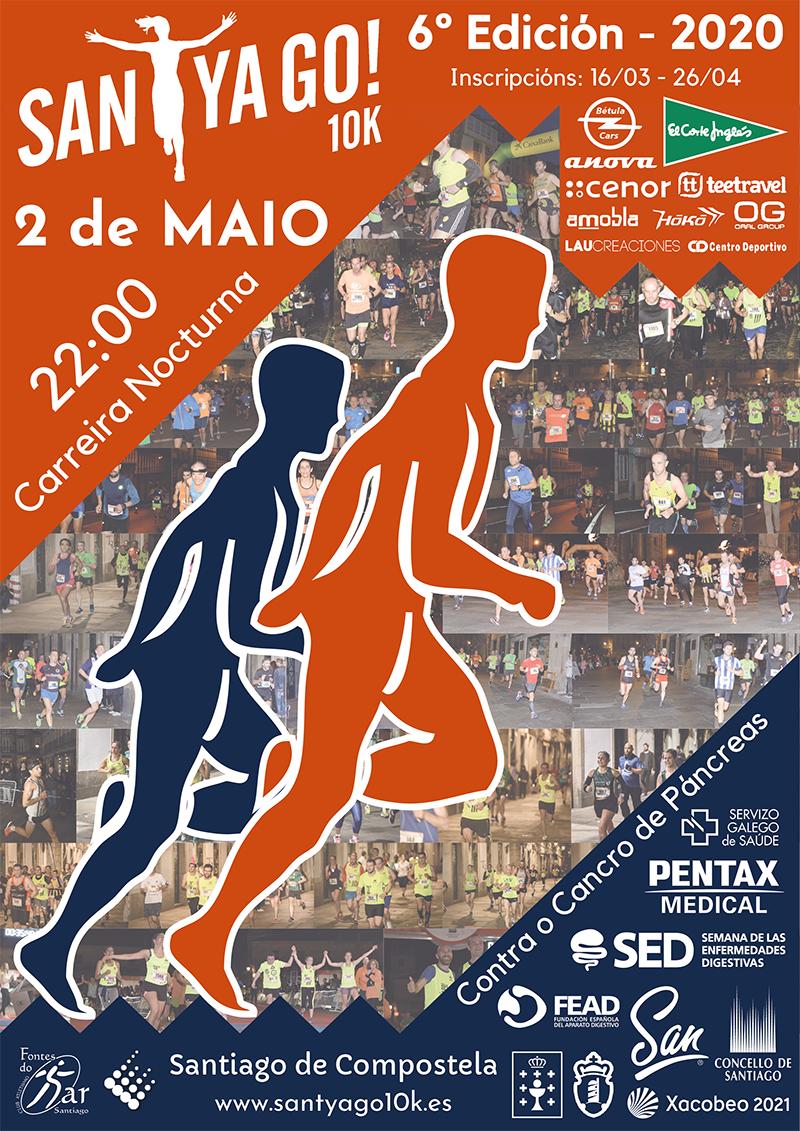 Cartel del evento SANTYAGO10K_2020 - CONTRA O CANCRO DE PÁNCREAS